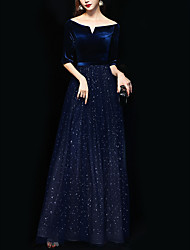 cheap -A-Line Sparkle Blue Wedding Guest Formal Evening Dress Off Shoulder Half Sleeve Floor Length Polyester with Sequin 2020
