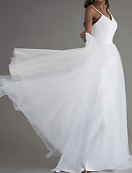cheap -A-Line Wedding Dresses V Neck Court Train Satin Tulle Sleeveless Simple Beach with 2021