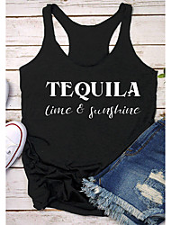 cheap -Women's T-shirt Graphic Prints Letter Print Round Neck Tops Slim 100% Cotton Basic Basic Top Black Dark Gray