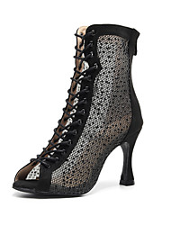 cheap -Women's Latin Shoes Jazz Shoes Dance Boots Boots Crystal / Rhinestone Slim High Heel Black Red Buckle
