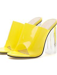 رخيصةأون -نسائي صنادل الصيف Pumps أحذية أصبع القدم مناسب للبس اليومي لون سادة PVC أرجواني / أصفر