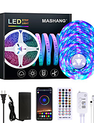 cheap -15m 3x5M Flexible LED Light Strips Light Sets RGB Strip Lights 810 LEDs 2835 SMD 8mm 1 set RGB Color-changing Christmas New Year's APP Control Party Self-adhesive 100-240 V