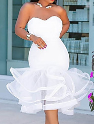 cheap -Mermaid / Trumpet Plus Size Sexy Homecoming Prom Dress Sweetheart Neckline Sleeveless Tea Length Satin with Tier 2021