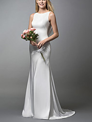 cheap -Mermaid / Trumpet Wedding Dresses Jewel Neck Sweep / Brush Train Spandex Lace Sleeveless Simple with 2021