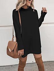 cheap -Women's Sweater Jumper Dress Short Mini Dress - Long Sleeve Fall Winter Casual Cotton Loose 2020 White Black Blue Gray S M L XL