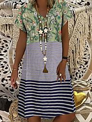 cheap -Women's Shift Dress Knee Length Dress - Short Sleeve Floral Summer V Neck Elegant 2020 Blue Purple Army Green S M L XL XXL XXXL XXXXL XXXXXL
