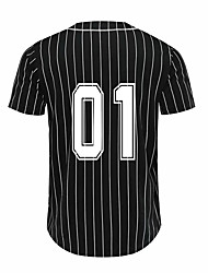 cheap -Men's Sports Striped Polyester Tee T-shirt Short Sleeve Activewear Breathable Quick Dry Comfortable White Black