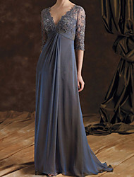 cheap -A-Line Mother of the Bride Dress Elegant V Neck Floor Length Chiffon Lace 3/4 Length Sleeve with Embroidery Ruching 2021