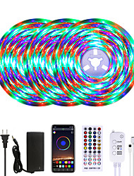cheap -MASHANG Bright RGB LED Strip Lights Waterproof 15M Music Sync Smart LED Tiktok Lights 900LEDs 2835 Color Changing with 40 keys Remote Bluetooth Controller for Home Bedroom TV Back Lights DIY Deco