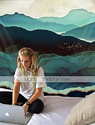 cheap -Large and spectacular night view tapestry of green hills and birds retro hippie tapestry for yoga and beach home decoration