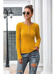 billige -Dame Ensfarvet Langærmet Pullover Sweater Jumper, Bateau-hals Vinter Hvid / Sort / Blå En Størrelse