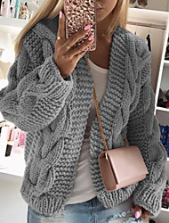 cheap -Women's Casual / Daily Knitted Solid Colored Cardigan Acrylic Fibers Long Sleeve Loose Sweater Cardigans Crew Neck Round Neck Fall Winter White Black Blushing Pink