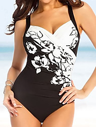 cheap -Women's One-piece Swimwear Swimsuit - Floral M L XL White