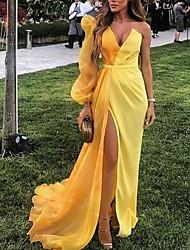 cheap -Sheath / Column Minimalist Sexy Party Wear Formal Evening Dress V Neck Long Sleeve Sweep / Brush Train Satin with Split 2021