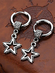 cheap -Hoop Earrings Hollow Out Star Stylish Stainless Steel Earrings Jewelry Silver For Gift Date Festival 1 Pair