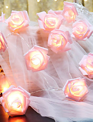 cheap -6M 40LED Pink Rose Flower LED Fairy Lights Holiday String Lights Battery Operated Valentine Wedding Party Christmas Decoration Lamp Without Battery