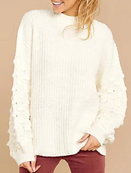 cheap -Women's Solid Colored Long Sleeve Pullover Sweater Jumper, Crew Neck Fall / Winter White S / M / L