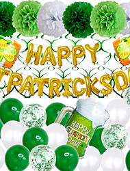 cheap -Party Balloons 25+8 pcs Stpatrics Day Party Supplies Latex Balloons Paper Pom Poms Boys and Girls Party Decoration 10-12inch for Party Favors Supplies or Home Decoration