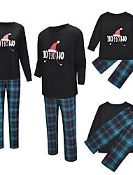 cheap -2 Piece Family Look Active Vintage Geometric Color Block Letter Print Long Sleeve Regular Maxi Clothing Set Black