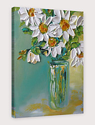 cheap -IARTS®Hand Painted Little white flowers Oil Painting   with Stretched Frame For Home Decoration