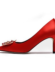 cheap -Women's Heels Summer Pumps Pointed Toe Daily Solid Colored PU Red