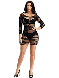 cheap -Women's Mesh Babydoll & Slips Bodysuits Nightwear Solid Colored Embroidered White / Black / Purple One-Size