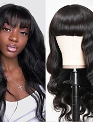 cheap -Remy Human Hair Wig Long Body Wave Neat Bang Natural For Black Women Capless Brazilian Hair Women's Natural Black #1B 10 inch 12 inch 14 inch