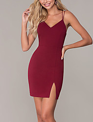 cheap -Sheath / Column Hot Beautiful Back Homecoming Cocktail Party Dress Spaghetti Strap Sleeveless Short / Mini Jersey with Criss Cross Split 2020
