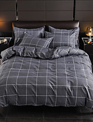 cheap -Grey Plaid Print Brushed Microfiber Duvet Cover Set Lightweight Reversible Zipper Closure Soft 4Pcs Set(1 Duvet Cover 1 Bed Sheet 2 Pillow Shams)