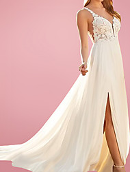 cheap -A-Line Wedding Dresses V Neck Court Train Chiffon Lace Sleeveless Beach with Split Front 2021