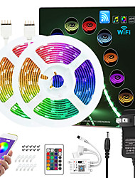 cheap -ZDM Upgraded 32.8ft (2*5M) App Intelligent Control Led Strip Lights IR 24 Key WIFI Controller 5050 RGB Waterproof  LED Soft light strip with Adapter Kit DC12V