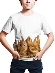 olcso -Gyerekek Kisgyermek Fiú Aktív Utcai sikk Rabbit 3D Állat Nyomtatott Rövid ujjú Póló Fehér