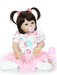 cheap -KEIUMI 22 inch Reborn Doll Baby & Toddler Toy Reborn Toddler Doll Baby Girl Gift Cute Washable Lovely Parent-Child Interaction Full Body Silicone 23D07-C41-H43-H06 with Clothes and Accessories for