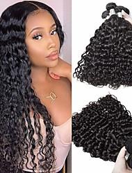 cheap -3 Bundles Hair Weaves Malaysian Hair Water Wave Human Hair Extensions Remy Human Hair 100% Remy Hair Weave Bundles 300 g Natural Color Hair Weaves / Hair Bulk Human Hair Extensions 8-28 inch Natural