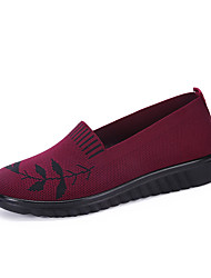 cheap -Women's Loafers & Slip-Ons Summer / Fall Flat Heel Round Toe Casual Sweet Daily Home Flower Braided Mesh Black / Red