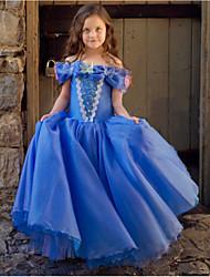 cheap -Cinderella Princess Dress Flower Girl Dress Girls' Movie Cosplay A-Line Slip Vacation Dress Blue Dress Halloween Children's Day Masquerade Polyester