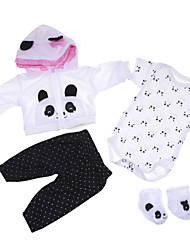 cheap -Reborn Baby Dolls Clothes Reborn Doll Accesories Cotton Fabric for 17-18 Inch Reborn Doll Not Include Reborn Doll Panda Soft Pure Handmade Girls' 4 pcs