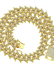 cheap -Men's Chain Necklace Necklace Cuban Link Lucky Luxury Classic Trendy Fashion Chrome Gold Silver 46 cm Necklace Jewelry 1pc For New Baby Party Evening Masquerade Street Festival