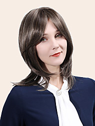 cheap -Remy Human Hair Wig Medium Length Straight Natural Straight Layered Haircut Asymmetrical Side Part With Bangs Brown Cosplay Women Natural Hairline Capless Women's All Brown 16 inch