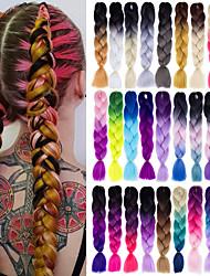 cheap -Crochet Hair Braids Jumbo Box Braids Silver Black Ombre Synthetic Hair 24 inch Braiding Hair 6pcs 3pcs 1pc