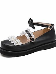povoljno -Žene Lolita Cipele Proljeće Jesen Platformske cipele Okrugli Toe Ležerne prilike Stil preppy Dnevno Ured i karijera Mašnica Čipka Jednobojni PU Obala / Crn / Pink