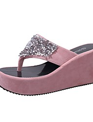 cheap -Women's Slippers & Flip-Flops Summer Wedge Heel Open Toe Daily Solid Colored PU White / Black / Fuchsia