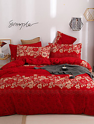 cheap -4-Pieces Bedding Set Flower Print Red Duvet Cover Set Ultra Soft and Easy Care, Bedding Queen Size Set