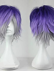 cheap -Cosplay Costume Wig Synthetic Wig Toupees Sakamaki Kanato Diabolik Lovers Curly Cosplay Layered Haircut Wig Short Purple / Grey Light Blue Synthetic Hair 10 inch Men's Synthetic Youth Blue Mixed Color