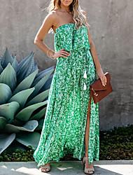 cheap -Women's Sundress Maxi long Dress - Sleeveless Floral Print Print Summer Strapless Mumu 2020 Green S M L XL