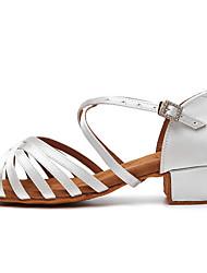 cheap -Women's Latin Shoes PU Heel Cuban Heel Dance Shoes Dark Brown / White / Black