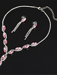cheap -Women's White AAA Cubic Zirconia Stud Earrings Choker Necklace Bridal Jewelry Sets Tennis Chain Mini Stylish Luxury Earrings Jewelry aqua blue / Red / Pink For Party Wedding Engagement 1 set