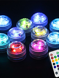 cheap -10pcs 2 W Underwater Lights Waterproof Remote Controlled Infrared Sensor Multi Color Batteries Powered Outdoor Lighting Swimming pool Courtyard 3 LED Beads Valentine's Day Christmas