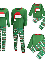 cheap -2 Piece Family Look Active Vintage Geometric Color Block Graphic Print Long Sleeve Regular Maxi Clothing Set Green