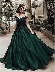 cheap -Ball Gown Luxurious Sparkle Quinceanera Prom Dress Off Shoulder Sleeveless Floor Length Lace Satin with Appliques 2020